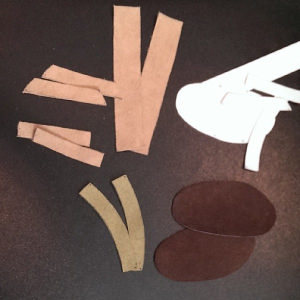 Hoping these pieces of suede cone together to form some colourblocked baby sandals