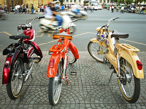 Bicycles for rent in Saigon street by -clicking-