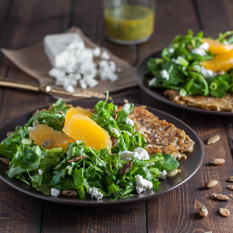 Arugula orange salad, toasted sesame vinaigrette, and easy sweet potato cakes
