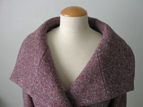 Burda plum coat collar