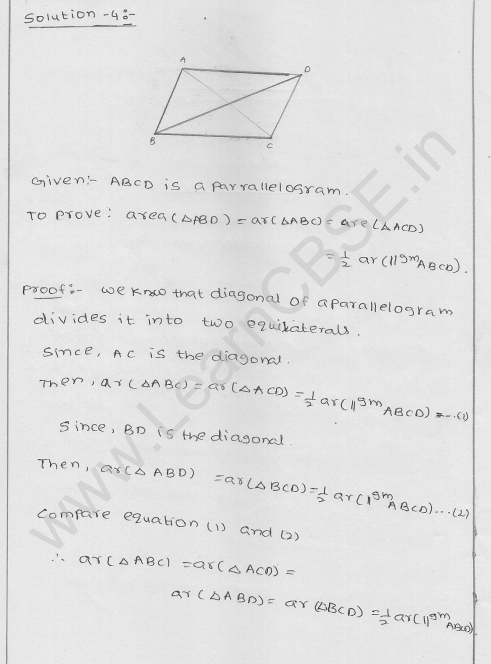 Solutions of RD Sharma Class 9 Chapter 15 Areas of parrallelograms and Triangles Ex 15.2 4
