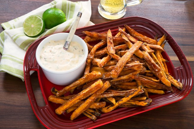 sweet potato fries with aioli and beer