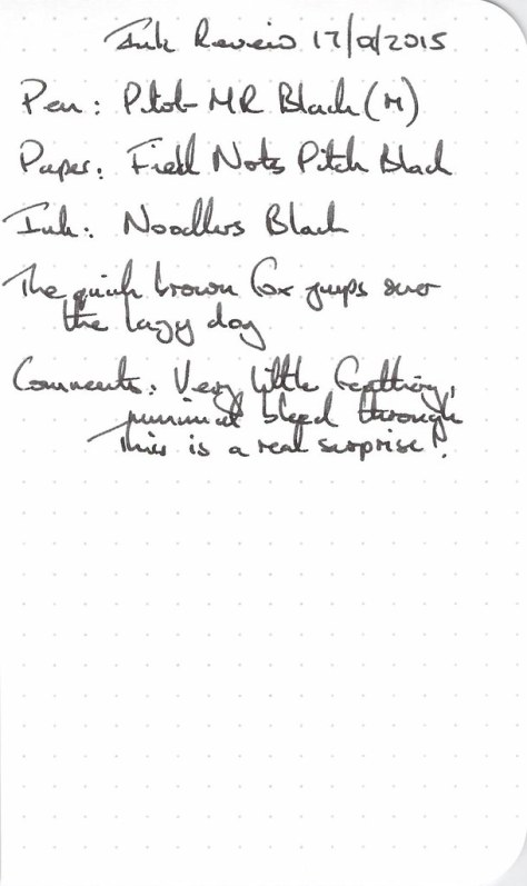 Noodler's Black Ink Review - Fields Notes
