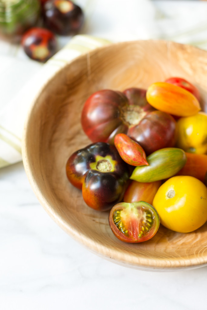 Heirloom Tomatoes in handcrafted maple bowl
