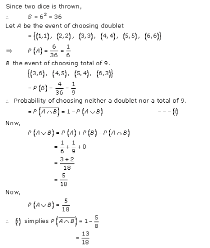 RD-Sharma-class-11 Solutions-Chapter-33-Probability-Ex-33.4-Q-9