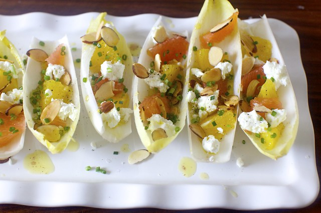 endives with oranges, goat cheese, almonds