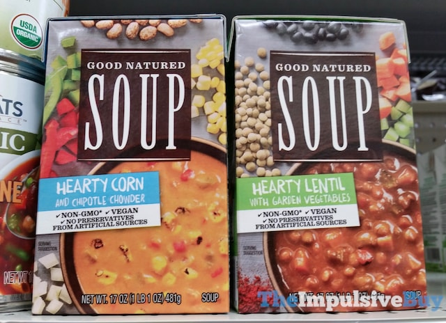 Progresso Good Natured Soup (Hearty Corn and Chipotle Chowder and Hearty Lentil with Garden Vegetables)