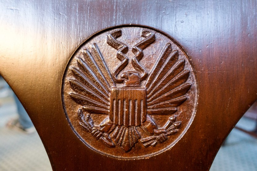 Eagle emblem in the chairs of the Reading Room
