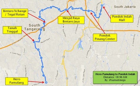 My Cycling Route: Hero Pamulang to Pondok Indah Mall