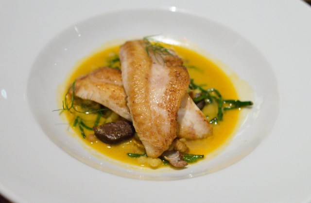 John Dory fregola, mussels, morcilla, flavors of bouillabaisse
