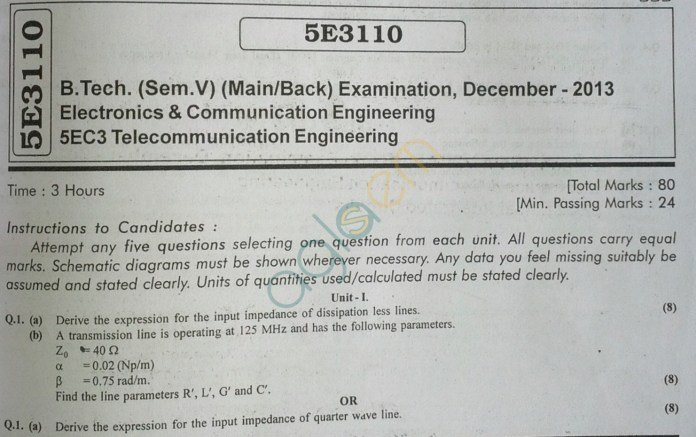 RTU: Question Papers 2013 - 5 Semester - EC - 5E3110