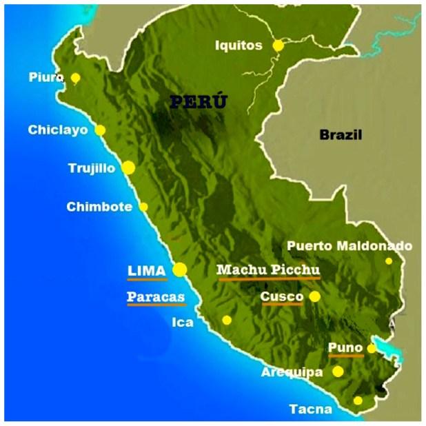 Mapa Perú y 5 lugares que visitar en Perú