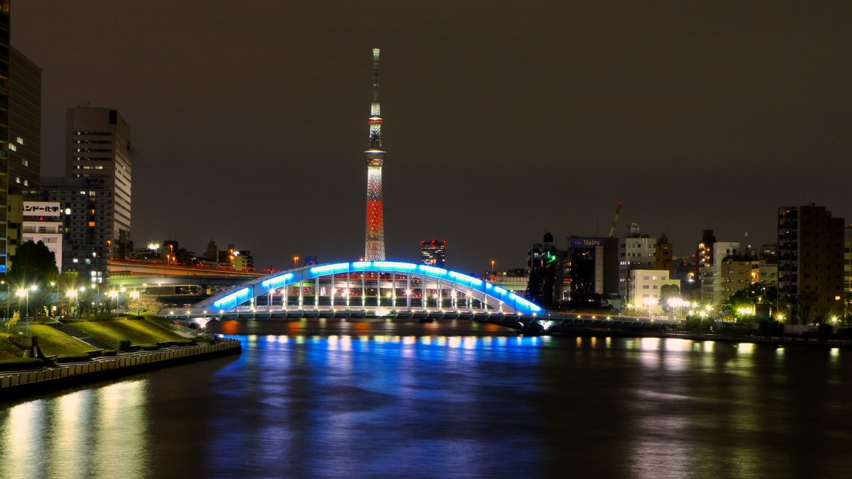 Eitaibashi and Skytree light up