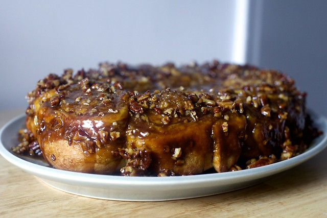 pecan sticky buns, upended