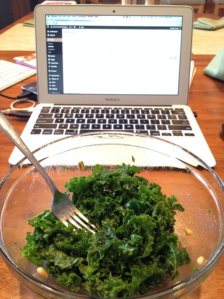 Kale salad and work
