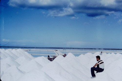 """Salt Piles and """"Pans"""" in background, Matthewtown, Great Inagua, Bahamas (19 June 1953)"""