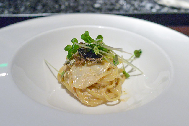 mentaiko pasta with abalone and black truffle