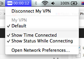 VPN status in side bar