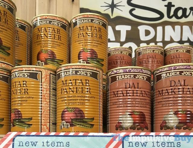 Trader Joe's Canned Matar Paneer and Dal Makhani
