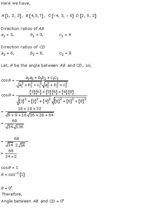 RD Sharma Class 12 Solutions Chapter 27 Direction Cosines and Direction Ratio Ex 27.1 Q11