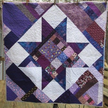 Scrappy Purple Star Quilt
