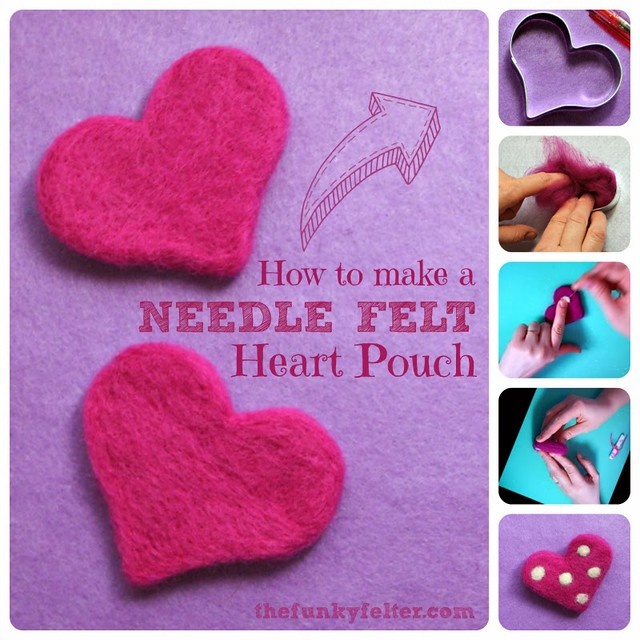 Needle Felted Heart Pouch