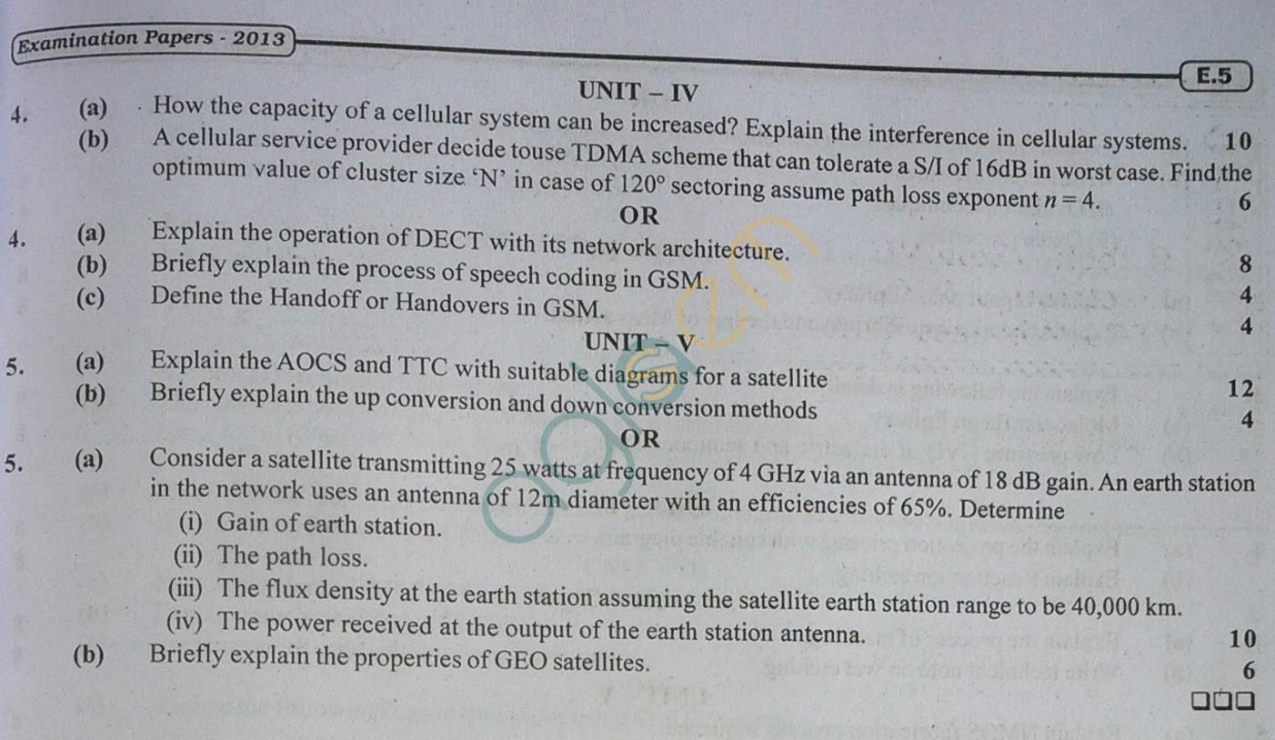 RTU: Question Papers 2013 - 7 Semester - EC - 7E4046