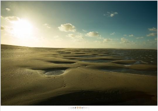 Poelen met water tijdens eb, glinsterend in het zonlicht