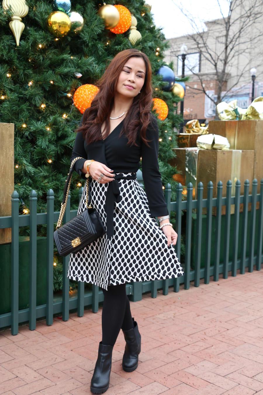 Christmas Outfit, DVF, Diane von Furstenberg wrap dress, fashion, style, styleanthropy