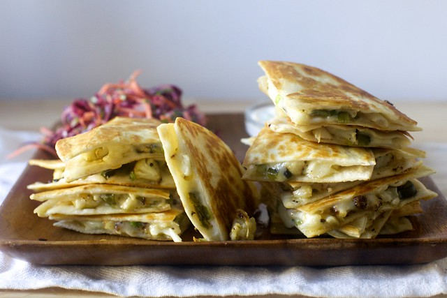 charred cauliflower and poblano quesadillas