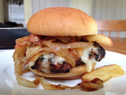 a smothered maple turkey burger
