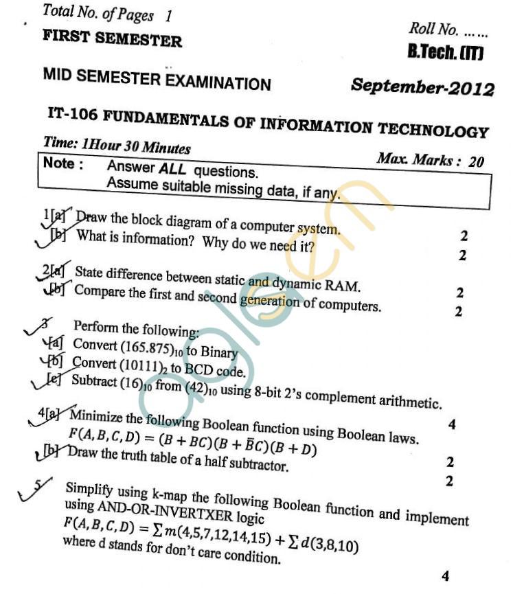 DTU: Question Papers 2012 – 1 Semester - Mid Sem - IT-106