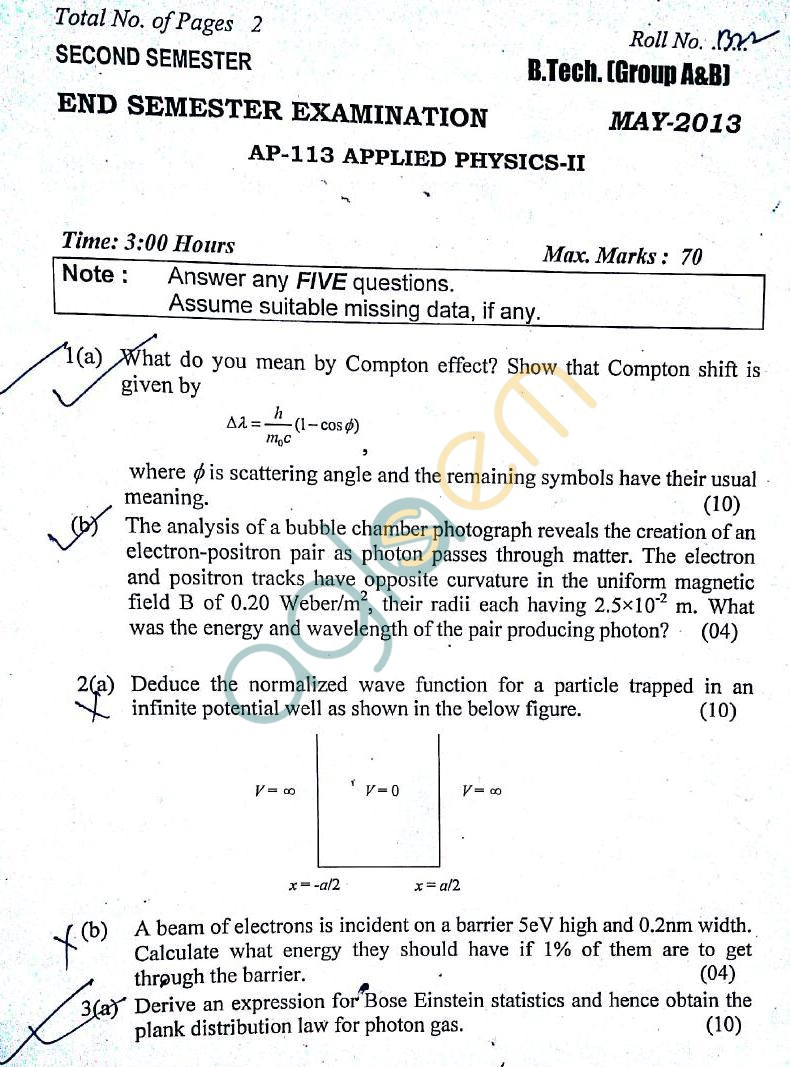 DTU: Question Papers 2013 – 2 Semester - End Sem - AP-113