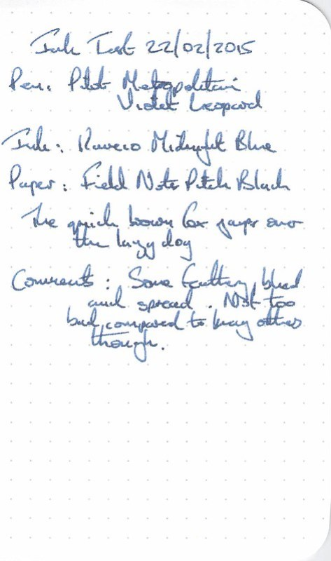 Kaweco Midnight Blue Ink Review - Field Notes
