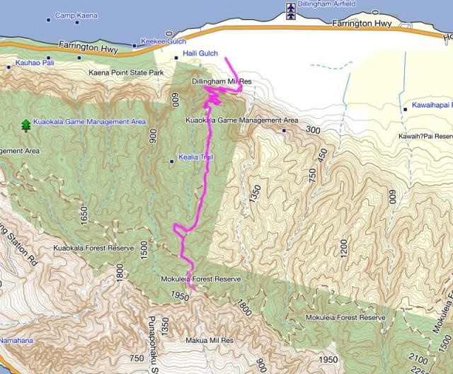 Kealia Trail Topo Map