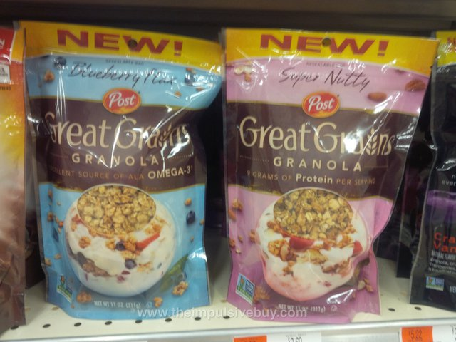 Post Great Grains Granola (Blueberry Flax and Super Nutty)