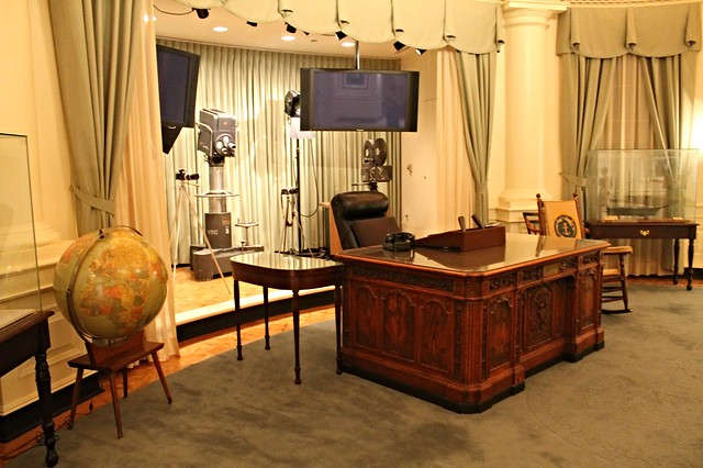 Recreación del Despacho Oval en la JFK Presidential Library and Museum