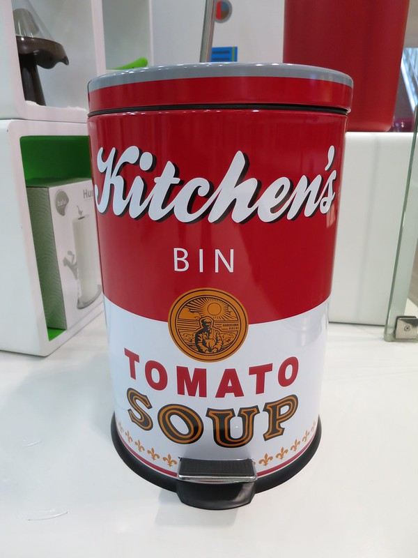 Tomato soup trash can