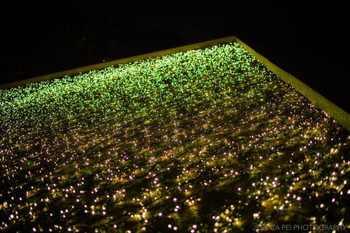 Illuminated Waterfall Pyramid in Garden Glow St. Louis