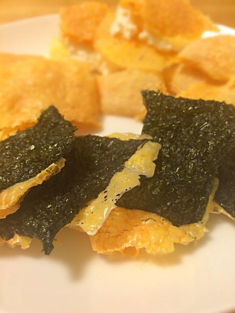 海苔せんべい風レンチンカリカリチーズ