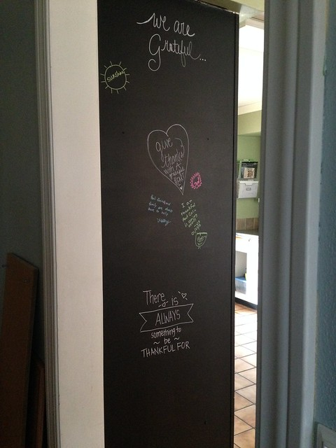 Gratitude board in the kitchen