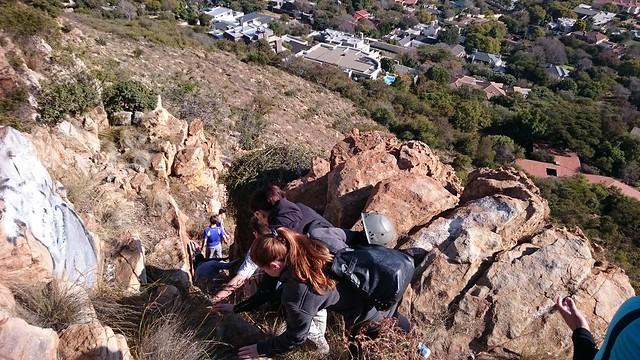 Scrambling to the climbing area