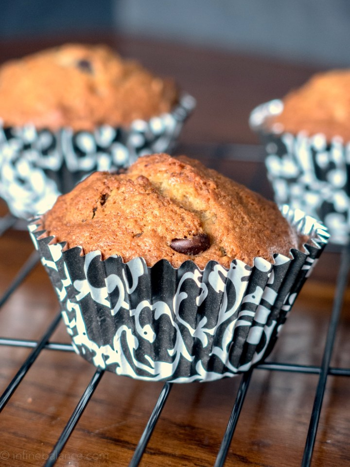 Chocolate Chip Banana Muffins | www.infinebalance.com #recipe #muffin
