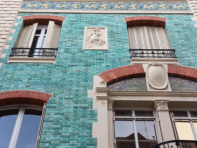 Art Nouveau green brick building, Paris