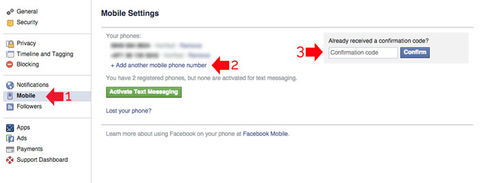 Add Facebook Security using mobile