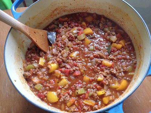 a big pot of Glenn's chili