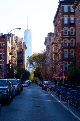 The Freedom Tower dominates the view throughout Greenwich Village