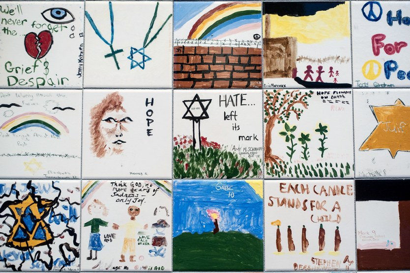 A group of tiles from the Children's Tile Wall.