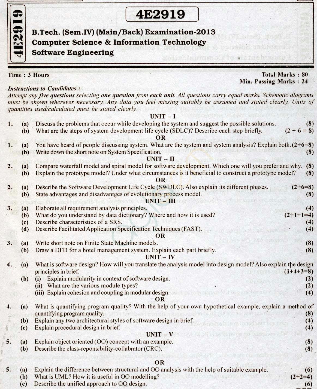 RTU: Question Papers 2013 - 4 Semester - CS & IT - 4E2919