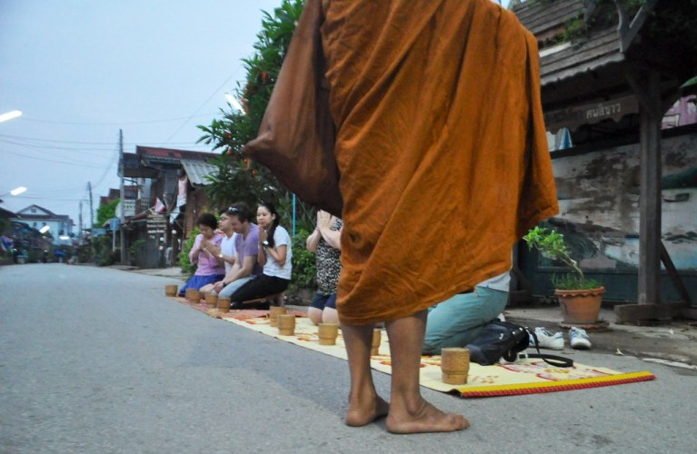 Participated in offering sticky rice to monks in Chiang Khan this morning. March 2015